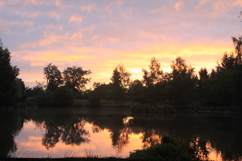 Sunrise over Woodpecker September 2011 - Fishing Lakes France