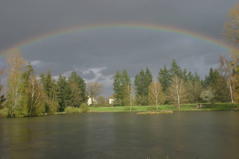 A rainbow over Woodpecker - Fishing Lakes France